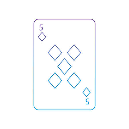 five of diamonds or tiles french playing cards related icon icon image vector illustration design  purple to blue ombre line