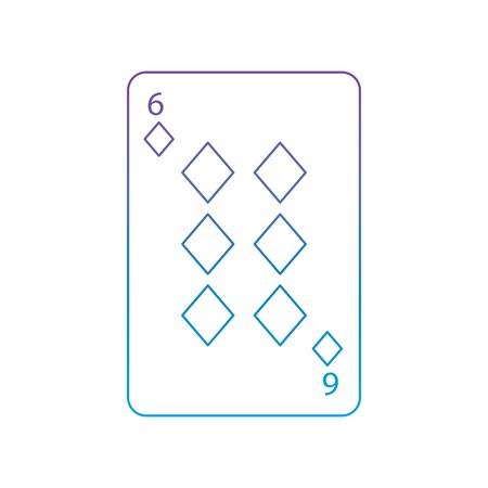 Six de diamants ou des outils français jeu jeu icône carte liée image design illustration ronde icône bleue à bleu Banque d'images - 90159997