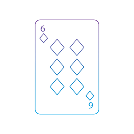 six of diamonds or tiles french playing cards related icon icon image vector illustration design  purple to blue ombre line