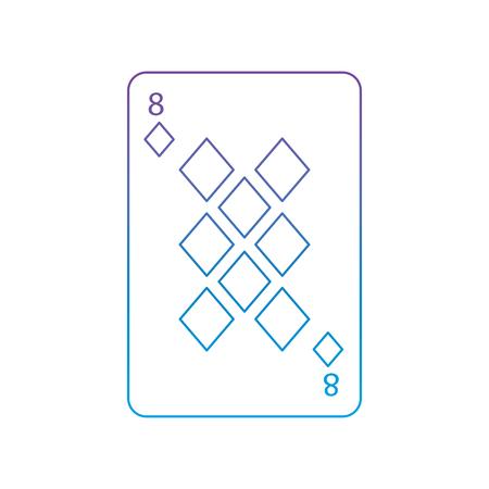 Acht der französischen Spielkarten der Diamanten oder der Fliesen bezogen sich Ikonenikonenbildvektor-Illustrationsdesignpurpur zur blauen ombre Linie Standard-Bild - 90156073