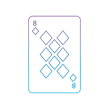 eight of diamonds or tiles french playing cards related icon icon image vector illustration design  purple to blue ombre line