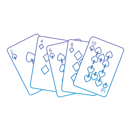 spades diamonds suits french playing cards related icon icon image vector illustration design  purple to blue ombre line Ilustração