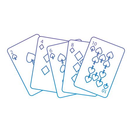 Spaten-Diamanten entspricht französischem Spielkarten bezogenem Ikonenikonenbildvektor-Illustrationsdesignpurpur zur blauen ombre Linie Standard-Bild - 90155809