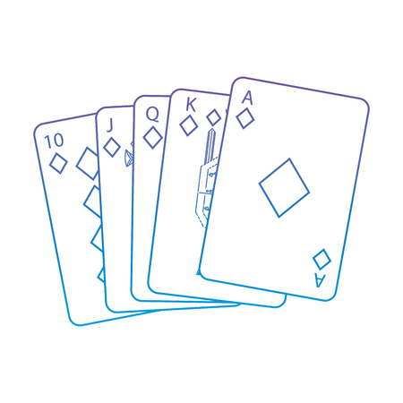 Diamanten Anzug Französisch Spielkarten im Zusammenhang mit Symbol Symbol Bild Vektor-Illustration Design lila bis blau Ombre Linie Standard-Bild - 90155811