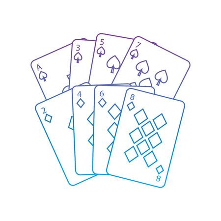 Spaten-Diamanten entspricht französischem Spielkarten bezogenem Ikonenikonenbildvektor-Illustrationsdesignpurpur zur blauen ombre Linie Standard-Bild - 90155812