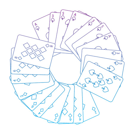 spades diamonds suits french playing cards in circle icon icon image vector illustration design  purple to blue ombre line