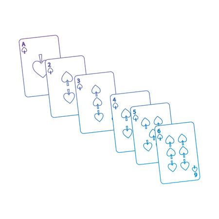 Il seme di picche gioca le carte da gioco francesi relative all'icona icona immagine illustrazione vettoriale progettazione viola alla linea blu ombre Archivio Fotografico - 90161425