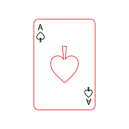 ace of spades french playing cards related icon icon image vector illustration design  black and red line Çizim