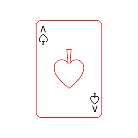 Ace of Spaten Französisch Spielkarten verwandte Symbol Bild Vektor-Illustration Design schwarz und rot Linie Standard-Bild - 90161421