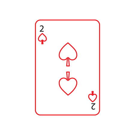 two of spades french playing cards related icon icon image vector illustration design  black and red line