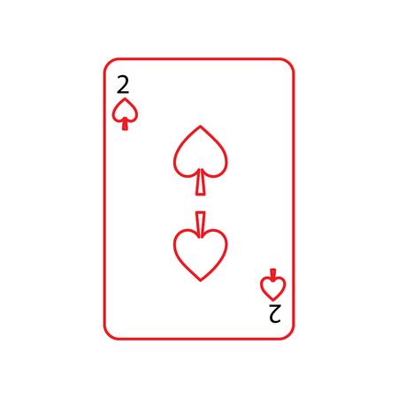 dos de espadas francés naipes relacionados icono de icono imagen vector ilustración diseño negro y rojo línea