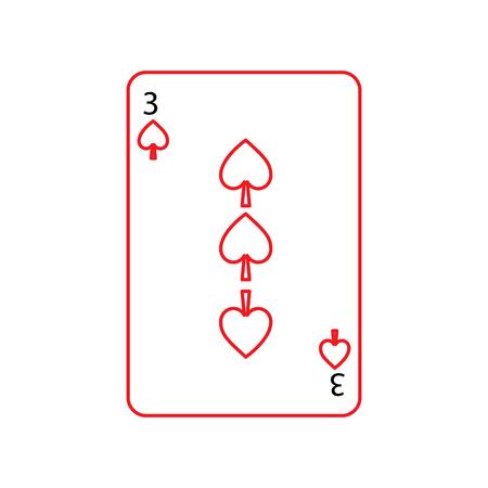 Drei von Spaten Französisch Spielkarten verwandte Symbol Bild Vektor-Illustration Design schwarz und rot Linie Standard-Bild - 90161428