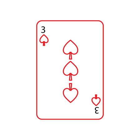 three of spades french playing cards related icon icon image vector illustration design  black and red line