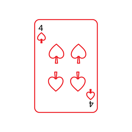 four of spades french playing cards related icon icon image vector illustration design  black and red line