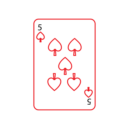 five of spades french playing cards related icon icon image vector illustration design  black and red line