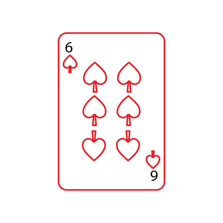six of spades french playing cards related icon icon image vector illustration design black and red line