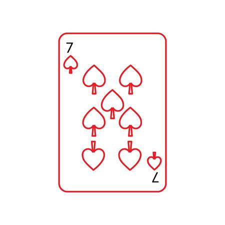 トランプ関連アイコン アイコン画像ベクトル イラスト デザイン黒と赤ラインはスペードの 7 フランスします。