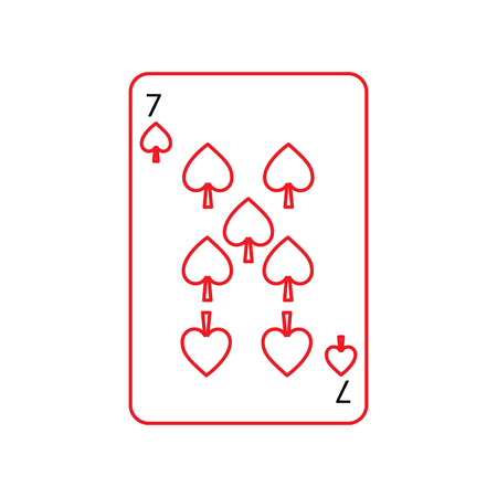 seven of spades french playing cards related icon icon image vector illustration design  black and red line Illustration