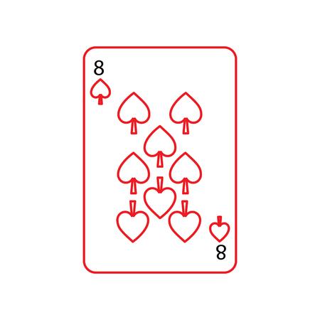 再生カード関連アイコン アイコン画像ベクトル イラスト デザイン黒と赤のラインをフランス スペードの 8  イラスト・ベクター素材