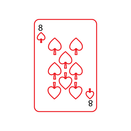 eight of spades french playing cards related icon icon image vector illustration design  black and red line Illustration