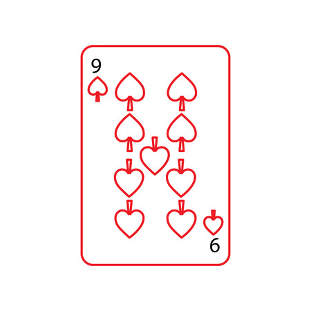 nine of spades french playing cards related icon icon image vector illustration design  black and red line Illustration