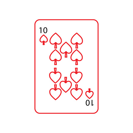 ten of spades french playing cards related icon icon image vector illustration design  black and red line