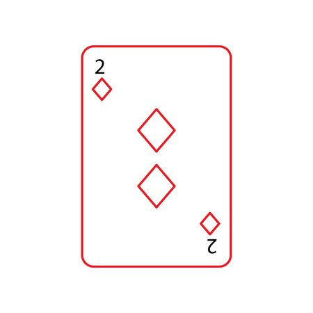 two of diamonds or tiles french playing cards related icon icon image vector illustration design  black and red line Illustration