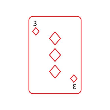ダイヤモンドやタイルの 3 つのフランスのトランプ関連アイコン アイコン画像ベクトル イラスト デザイン黒と赤ライン  イラスト・ベクター素材