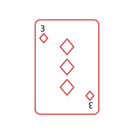 three of diamonds or tiles french playing cards related icon icon image vector illustration design  black and red line Illustration