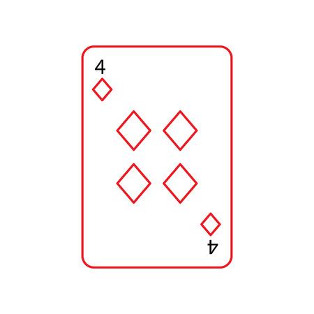 ダイヤモンドやタイルの 4 つのフランスのトランプ関連アイコン アイコン画像ベクトル イラスト デザイン黒と赤ライン  イラスト・ベクター素材
