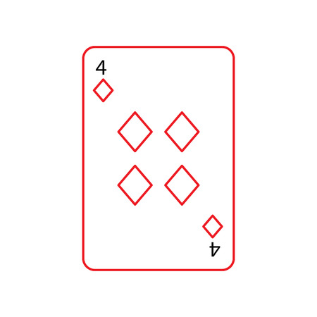 four of diamonds or tiles french playing cards related icon icon image vector illustration design  black and red line Illustration