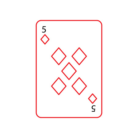 five of diamonds or tiles french playing cards related icon icon image vector illustration design  black and red line