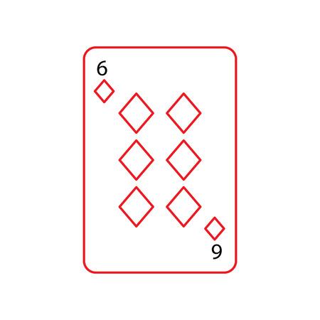 6 ダイヤモンドやタイルのフランスのトランプ関連アイコン アイコン画像ベクトル イラスト デザイン黒と赤ライン