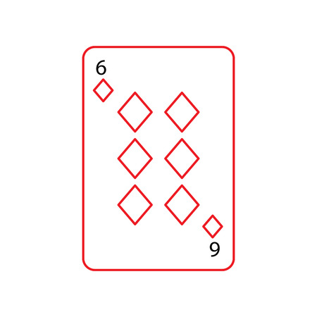 six of diamonds or tiles french playing cards related icon icon image vector illustration design  black and red line