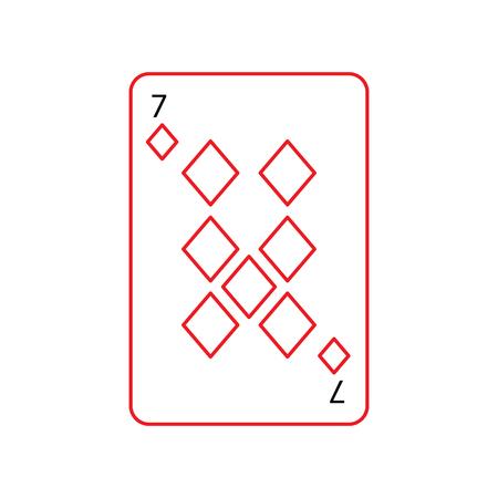 Sieben von Diamanten oder Fliesen Französisch Spielkarten im Zusammenhang mit Symbol Symbol Bild Vektor-Illustration Design schwarze und rote Linie Standard-Bild - 90161640