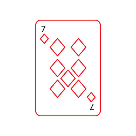seven of diamonds or tiles french playing cards related icon icon image vector illustration design  black and red line
