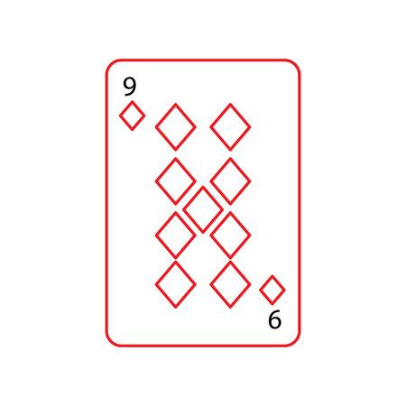 Neun der französischen Spielkarten der Diamanten oder der Fliesen bezogen sich schwarze und rote Linie des Ikonenikonenbildvektor-Illustrationsdesigns Standard-Bild - 90162215