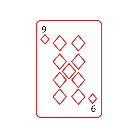 nine of diamonds or tiles french playing cards related icon icon image vector illustration design  black and red line