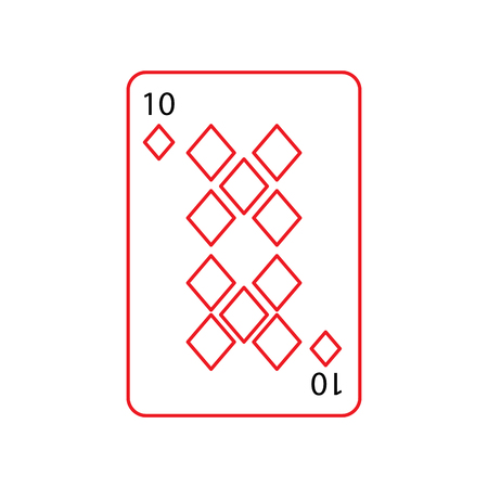 ten of diamonds or tiles french playing cards related icon icon image vector illustration design  black and red line