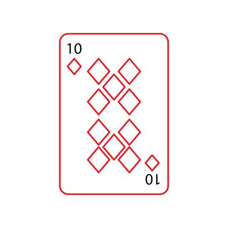 Zehn der französischen Spielkarten der Diamanten oder der Fliesen bezogen sich schwarze und rote Linie des Ikonenikonenbildvektor-Illustrationsdesigns Standard-Bild - 90162217