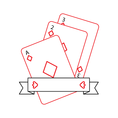 diamonds suit emblem french playing cards related icon icon image vector illustration design  black and red line Illustration