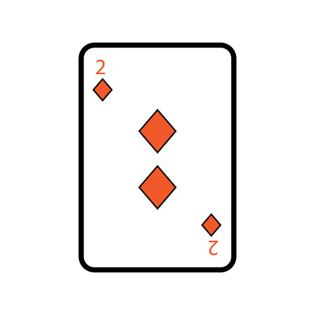 two of diamond poker card casino icon vector illustration