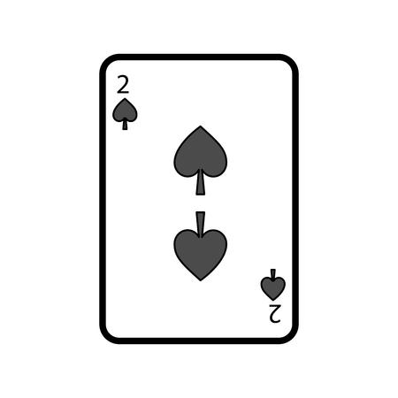 두 스페이드 포커 카드 카지노 아이콘 벡터 일러스트 레이 션 일러스트