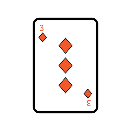 three of diamonds playing card theme casino vector illustration Illusztráció