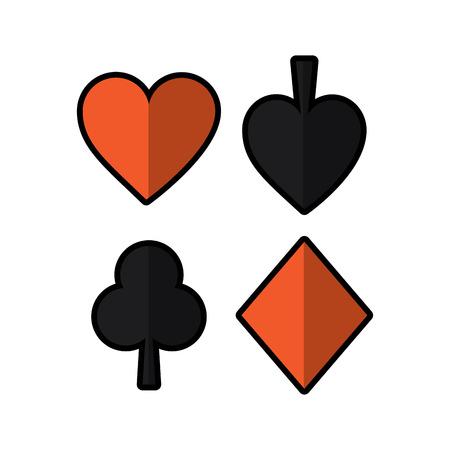 재생 카드 스페이드 심장 클럽 다이아몬드 정장 벡터 일러스트 레이션