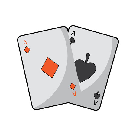 two aces playing cards poker casino icon vector illustration Illustration