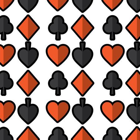 カードでシームレスなポーカー パターンに合ったカジノ テクスチャ ベクトル図  イラスト・ベクター素材
