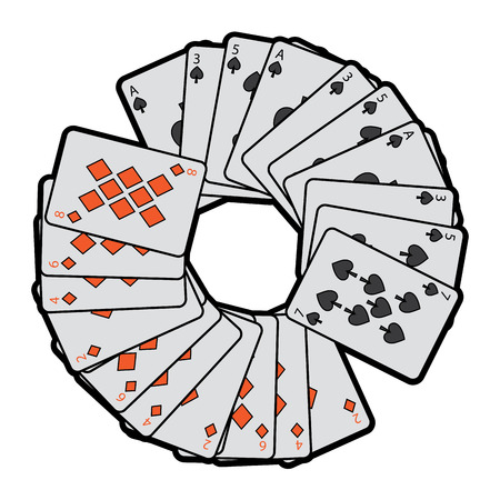 spades diamonds suits french playing cards in circle icon icon image vector illustration design