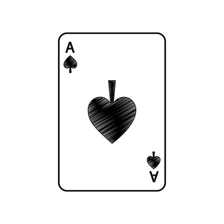 Disegno dell'illustrazione di vettore dell'icona dell'icona dell'icona delle carte da gioco francesi dell'asso di picche Archivio Fotografico - 90164895