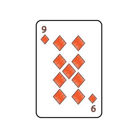 Neun von Diamanten oder Fliesen Französisch Spielkarten Symbol verwandte Symbol Bild Vektor Illustration design Standard-Bild - 90165607